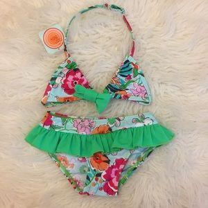 Floatimini Toddler Floral Ruffle Bikini 4T